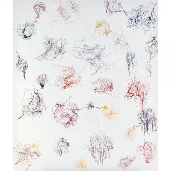 Ghada Amer (née en 1963, Egypte)  - Untitled, 1994, Crayon de couleur et fils de [...]