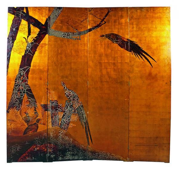 Louis MIDAVAINE – 1988-1978  - PARAVENT en laque polychrome sur fond à la feuille[...]