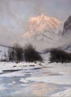Gabriel LOPPE (1825-1913). - Coucher de soleil en hiver sur le...