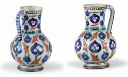 Turquie, Iznik - Pichet, bardak, en céramique siliceuse
