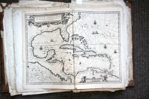 ATLAS. - Atlas composite- Vers 1630-1670.- In-folio , veau havane, dos à nerfs. [...]