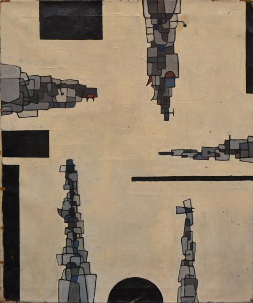 CASTELLANI (Enrico).  - Sans titre (ca 1953).  - Huile sur toile, montée sur[...]