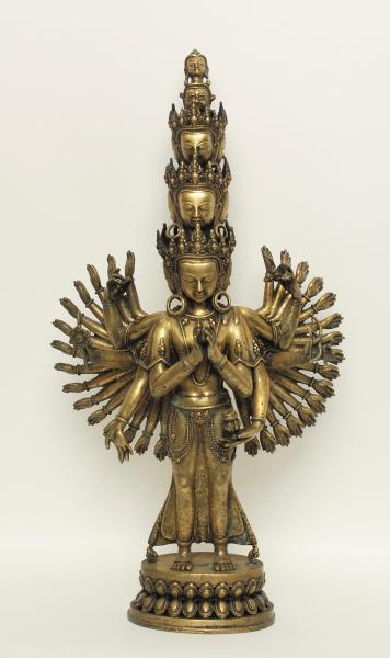 Avalokesvhara. Divinité bouddhique aux bras multiples. Bronze doré. Tibet. XIXès. [...]