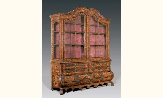 meuble vitrine en bois de placage d cor marquet travail hollandais du xviiie mis en vente. Black Bedroom Furniture Sets. Home Design Ideas