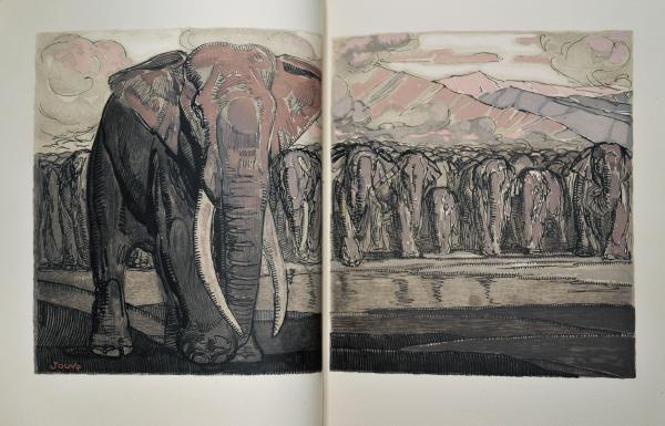 JOUVE. LECONTE DE LISLE. Poèmes Barbares. Lausanne, Gonin & Cie, 1929. 2 vol. in-4 :[...]