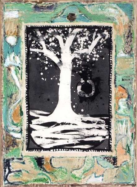 Pierre ALECHINSKY (né en 1927).  - Poteau de couleurs - 1993.  - Technique mixte sur[...]