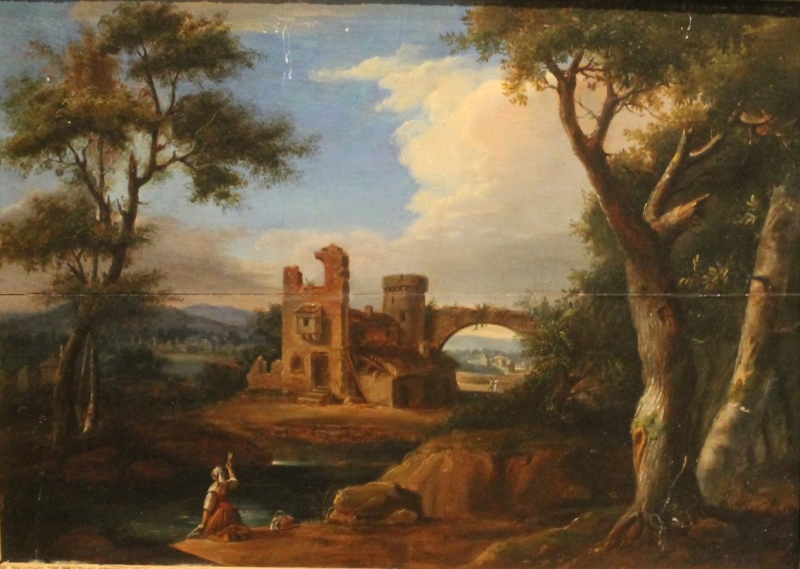 attribu simon mathurin lantara 1729 1778 paysage de ruines tableaux anciens et. Black Bedroom Furniture Sets. Home Design Ideas