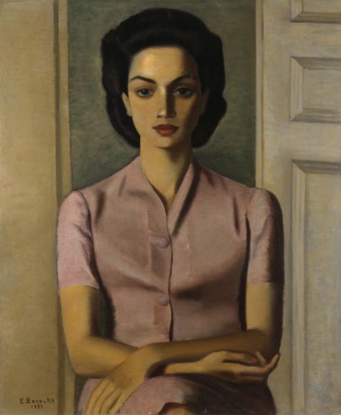 Ézéquiel BAROUKH [égyptien] (1909-1984)  - Portrait de Mademoiselle A.C., 1939  - [...]