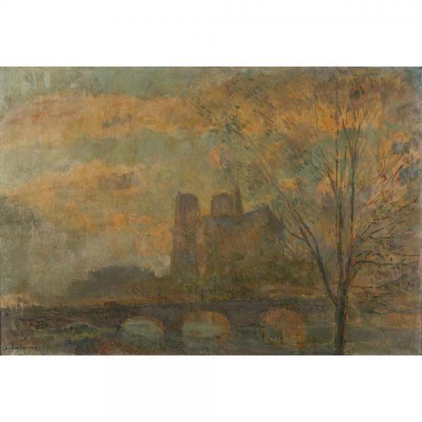 Albert Marie Lebourg (1849-1928), L'abside de Notre Dame de Paris  - Huile sur toile[...]
