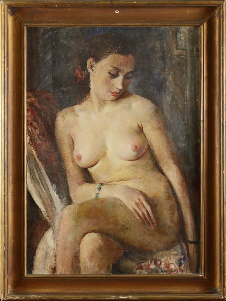 Vera ROCKLINE (1896-1934) Modèle nu au bracelet vert Huile sur toile (traces de [...]