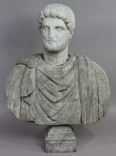 Buste de jardin en marbre et pierre représentant un empereur romain, accidents et[...]