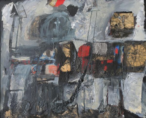 * CLAVÉ Antoni (1913-2005). Les guerriers, 1960. Technique mixte et collage signé[...]