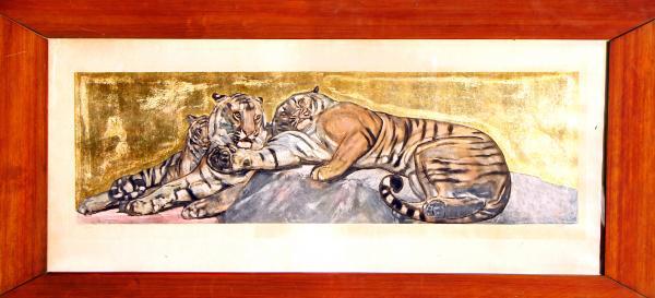 Paul JOUVE (1878-1973) Tigres au repos. 1932. Eau-forte et aquatinte sur fond or.[...]