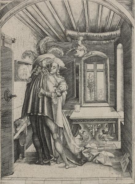 * Martin ZASINGER:  - Couple enlacé.  - (Inventaire des Ecoles du Nord 470). 15,5[...]