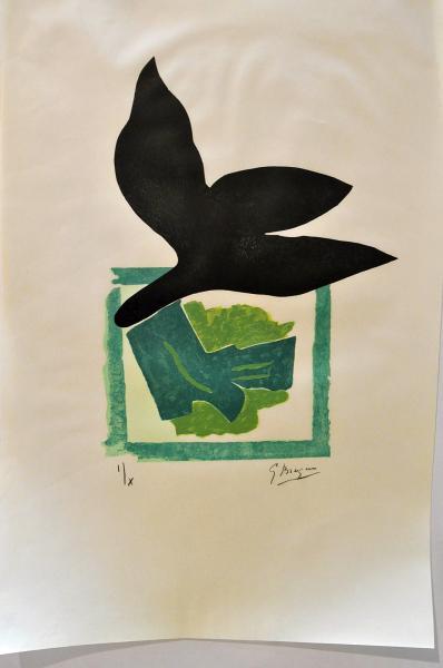 2. Georges BRAQUE. Oiseau noir sur fond vert pour Si je mourais là-bas. 1962  - Bois [...]