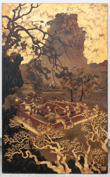 Pavillons dans un paysage. Laque sur panneau de bois. Signature et cachet en bas à[...]