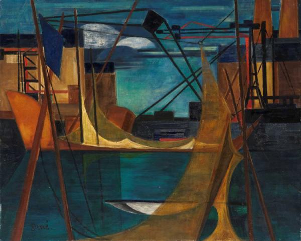 PERRE Danièle (1924-2009).  - Orage sur le port.  - Toile, signée en bas à gauche,[...]