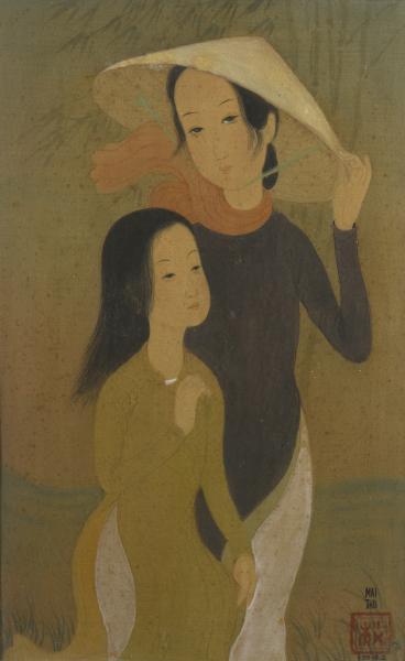 Mai THU (1906-1980)  - Deux jeunes femmes, 1942  - Gouache sur toile, signée,[...]