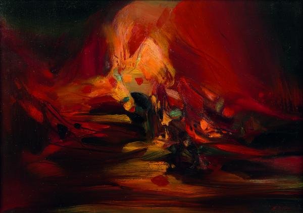 CHU TEH-CHUN (1920-2014)  - Composition n° 546, circa 1975  - Huile sur toile,[...]