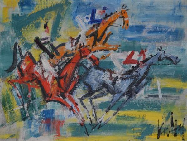 GEN Paul Course hippique Panneau signé en bas à droite 50 x 64,5 cm -