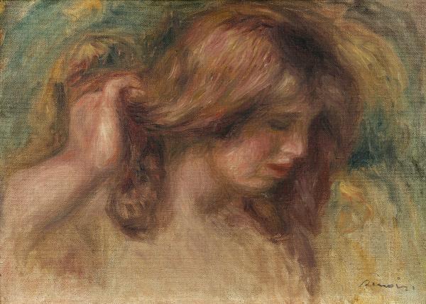 Pierre-Auguste RENOIR (1841-1919) :  - MODELE A LA MAIN DANS LES CHEVEUX.  - Huile[...]
