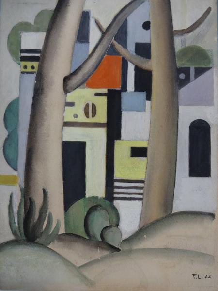 Fernand LÉGER (1881 – 1955): Les arbres devant la maison, 1922. Gouache, signée[...]