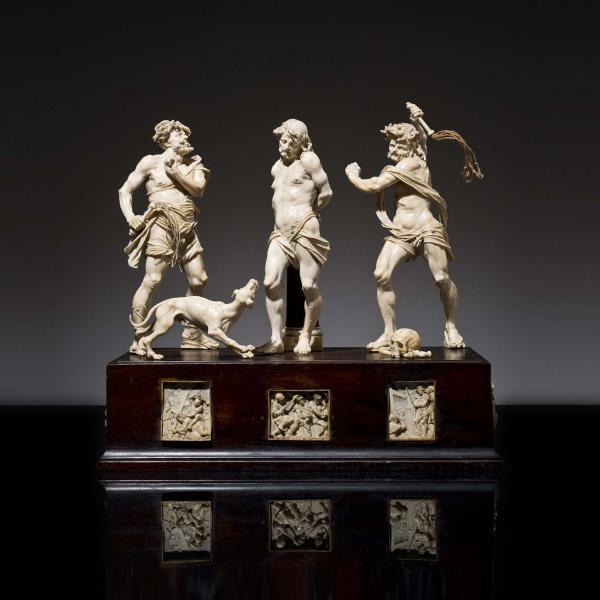 Exceptionnel groupe de la Flagellation en ivoire, sculpté avec éléments en bois[...]