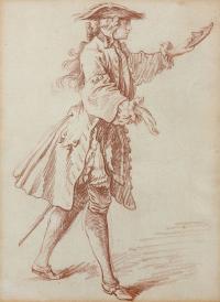François BOUCHER (Paris 1703 - 1770) - Etude d'homme pour L'Etourdi..