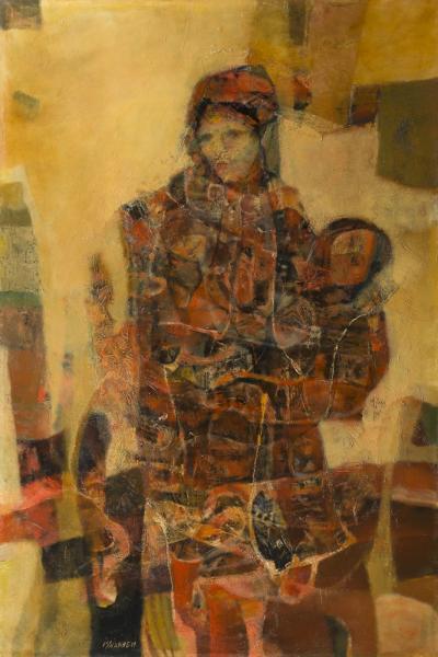 M'hamed ISSIAKHEM [algérien] (1928-1985)  - Maternité, vers 1969-70  - Huile sur [...]
