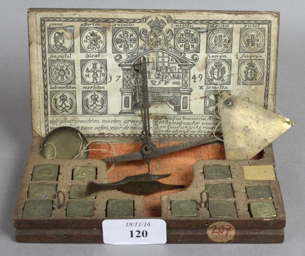 Boîte de pesage monétaire portant étiquette de  Jacobus Franciscus Neusts 1749, [...]