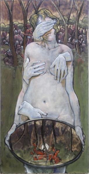 Jean-Pierre CEYTAIRE (né en 1946).  - Femme aux mains gantées.  - Huile sur toile.[...]