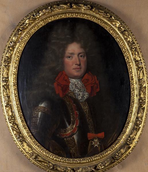 Ecole française du XVIIe siècle.  - Portrait d'homme en armure. Huile sur toile à[...]