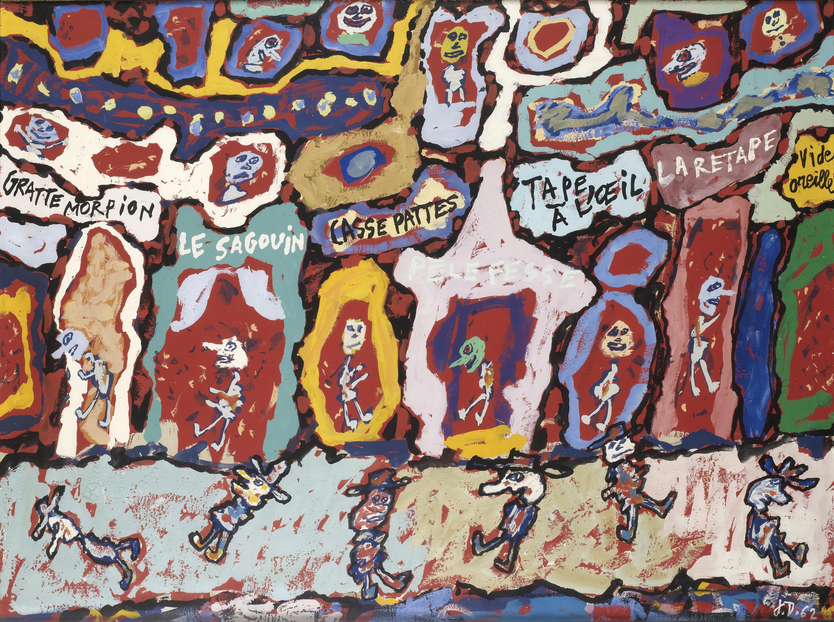 Jean DUBUFFET  «TAPE A L'ŒIL», 1962  Gouache sur papier monogrammé et daté[...]