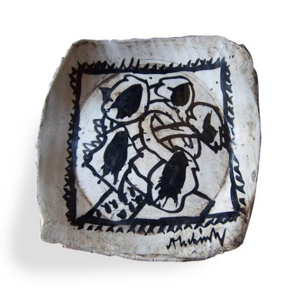 Pierre Alechinsky (1927 -)  - Sans titre  - Assiette de forme irrégulière en[...]