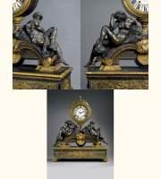 PENDULE Décorée du Jour et de la Nuit, de Michel-Ange - Époque régence. - Auction