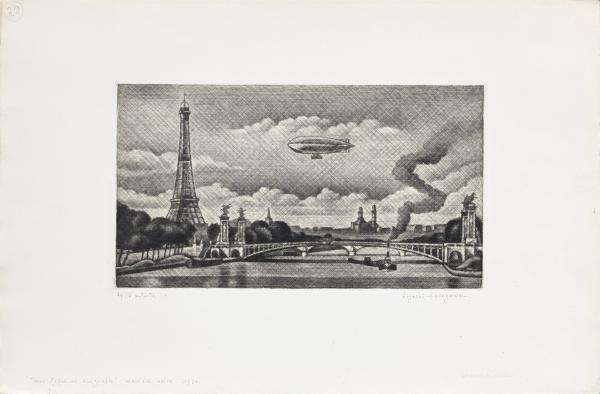 Kioyshi HASEGAWA (1891-19810:  - Pont Alexandre III et dirigeable. 1930  - [...]