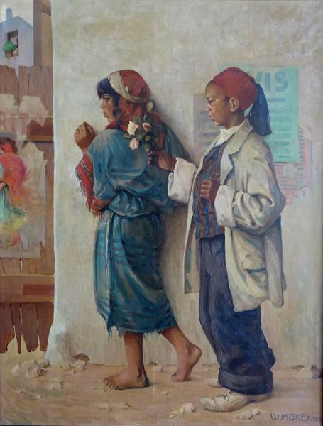 W. HISKEY(XXe): le bouquet de fleurs offert. Huile sur toile. Signé et daté 1911[...]