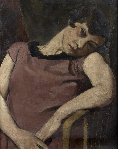 Frantisek Zdenek EBERL (1887-1962) :  - PORTRAIT DE FEMME ASSISE EN ROBE MAUVE.  -[...]