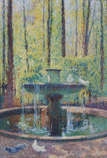 Henri MARTIN (1860-1943) - Fontaine - Huile sur panneau signée en bas à droite[...]