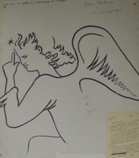 Jean COCTEAU (1889-1963) - Profil d'ange daté et signé 1963...
