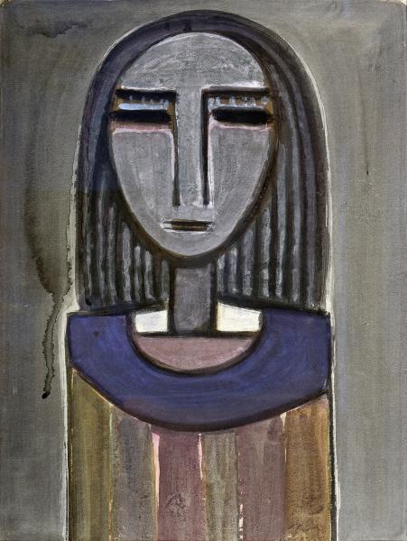 Wifredo LAM (1902-1982)  - Femme à la collerette bleue, circa 1939  - Gouache  - H.[...]