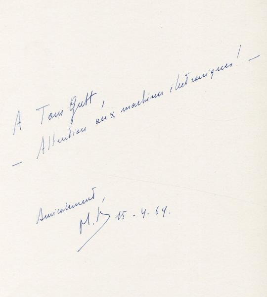 Ex. dédicacé.- BROODTHAERS (Marcel).   - Pense-Bête. Brux., (L'Auteur, imprimerie[...]