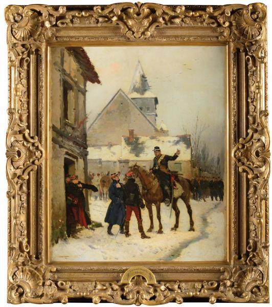 Edouard DETAILLE (1848-1912).  -  Ecole française.  - « L'alerte ! Gendarme[...]