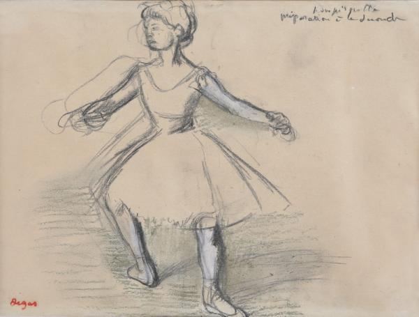 Edgar DEGAS (1834  - 1917)  - Danseuse (préparation à la seconde)  - Dessin au[...]