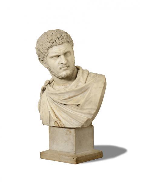 BUSTE en marbre blanc représentant l'Empereur Caracalla (188-217)  - Socle carré en[...]