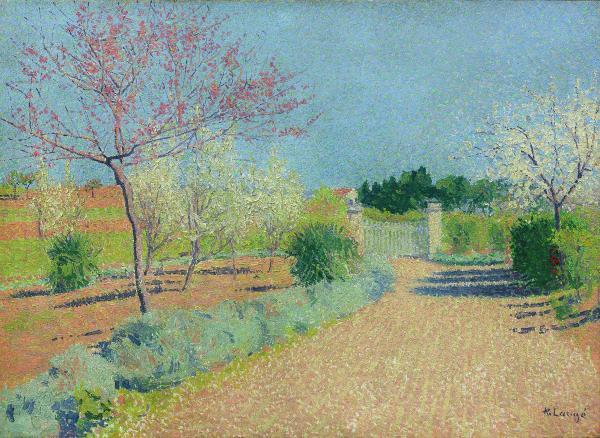 Achille LAUGE (1861-1944)  - Le Mas de l'Alouette au printemps   - (Le jardin de[...]