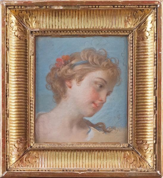 ÉCOLE FRANÇAISE du XVIIIe siècle, entourage de Jean-Baptiste Marie PIERRE  - TÊTE[...]
