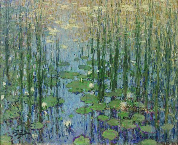 Pierre-Eugène MONTEZIN (1874-1946)  - Nymphéas  - Huile sur toile, signée en bas[...]