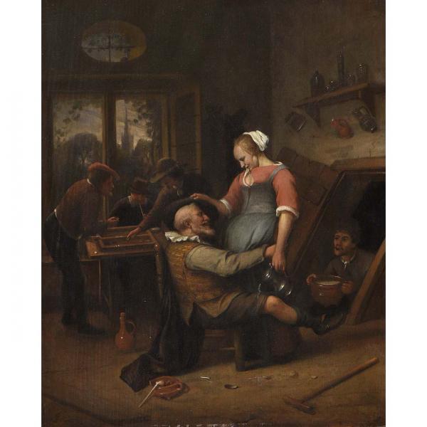 Jan Steen (Leyde 1626-1679), Le villageois en belle humeur, Panneau de chêne, une[...]