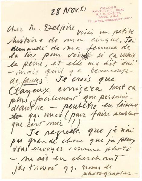 Alexander CALDER (1898-1976).  - Manuscrit autographe signé, [Petite histoire de mon[...]